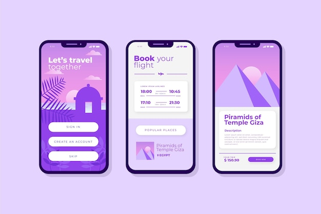 Travel booking app interface template