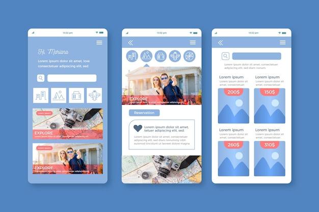 여행 예약 앱 인터페이스