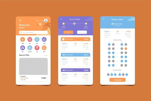 Travel booking app screens