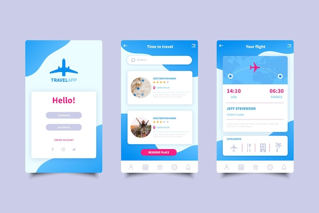 旅行予約アプリの画面