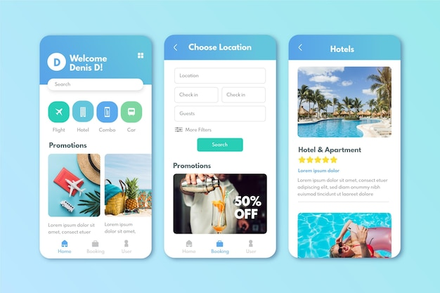 Travel booking app screens