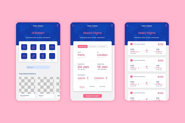 Travel booking app template set