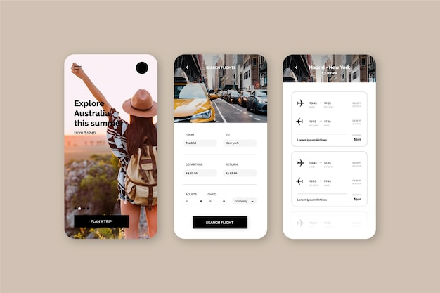 Travel booking app with tourist woman
