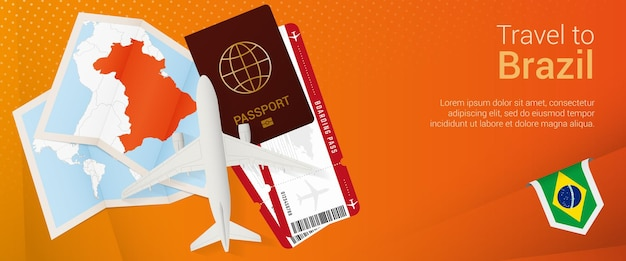 Travel to brazil popunder banner trip banner with passport tickets airplane boarding pass