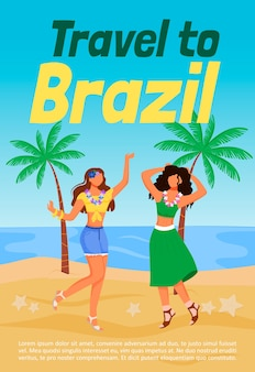 Travel to brazil poster flat  template. standing latino women in summer clothing. sea beach. brochure, booklet one page concept design with cartoon characters. traditional party flyer, leaflet