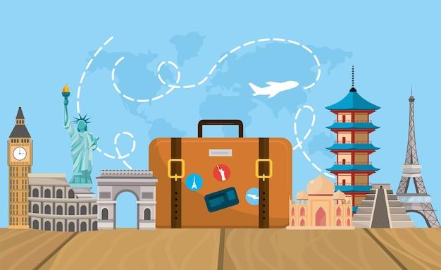 Travel briefcase with fun destination tourist
