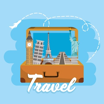 Travel briefcase with global international destination