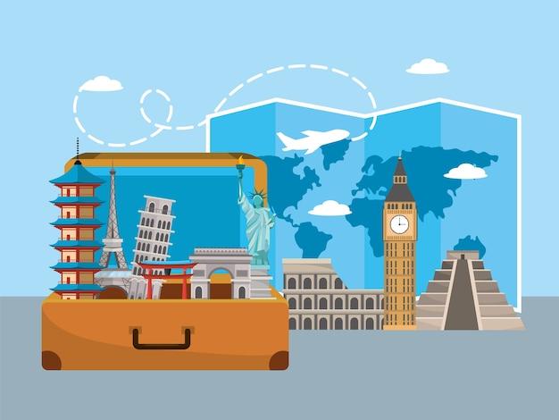 Travel briefcase with international destination site