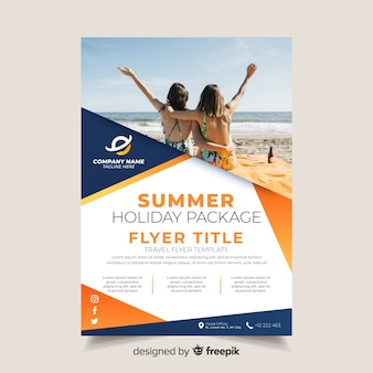 Travel brochure template with photo