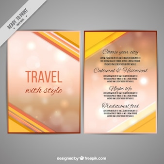 Travel brochure with blurred background