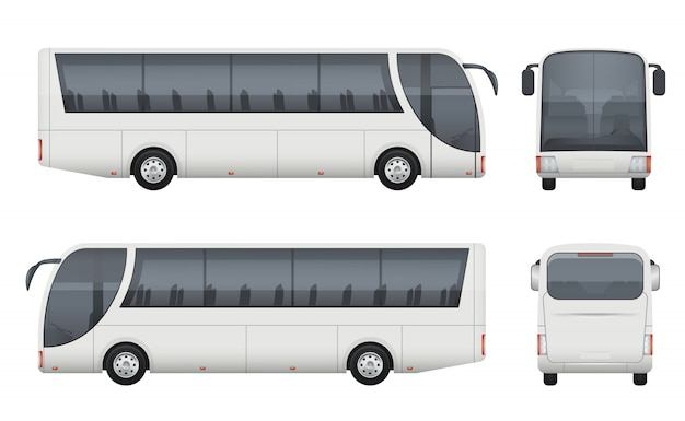 Travel bus realistic. tourism autobus mockup cargo car front side view  pictures set isolated
