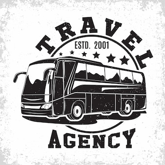 Travel bus vintage emblem