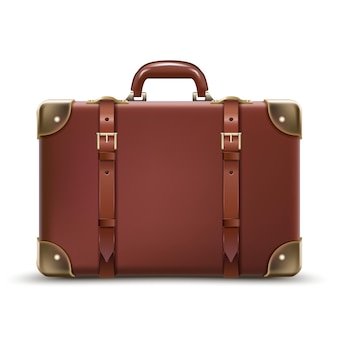 Travel business brown luggage in leather isolated on white background