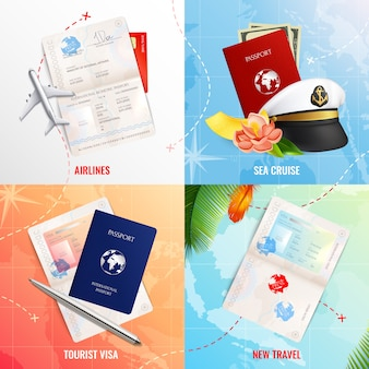 Travel by air and sea 2x2 advertising design concept with biometric passport mockups  and visa stamp realistic icons