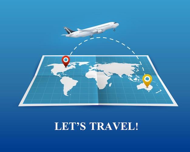 飛行機の現実的な構成による旅行