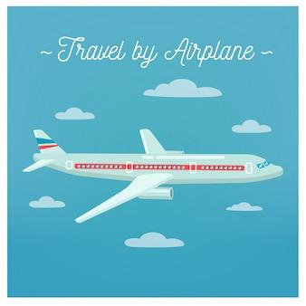 飛行機で旅行します。観光業界。飛行機旅行。交通手段。ベクトルイラストフラットスタイル
