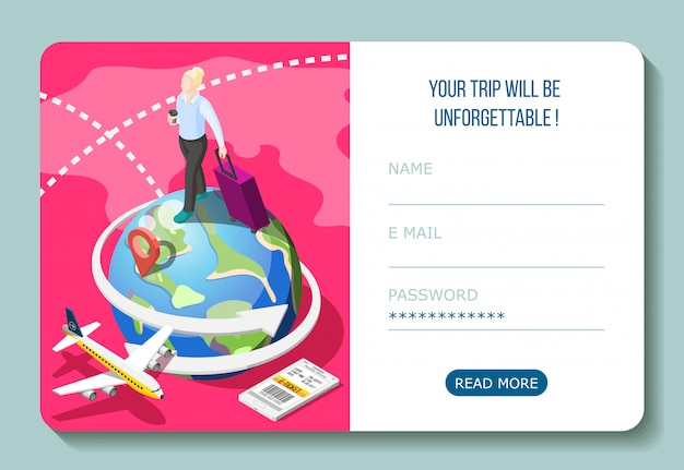 Travel by airplane with electronic ticket in smart phone isometric composition with user account interface