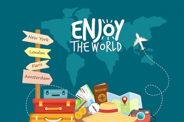 비행기로 여행하십시오. 세계 여행. 여름 방학 계획. 관광 및 휴가 테마.
