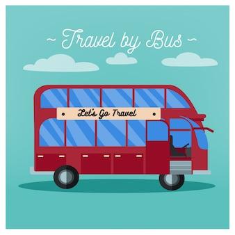 バスで旅行する。観光業界。バス旅行。交通手段。ベクトルイラストフラットスタイル