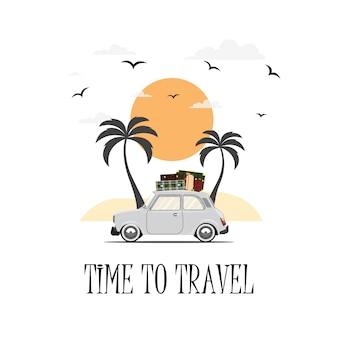자동차 여행. 도로 여행. 여행, 관광, 여름 휴가 시간. 평면 디자인 일러스트 레이션