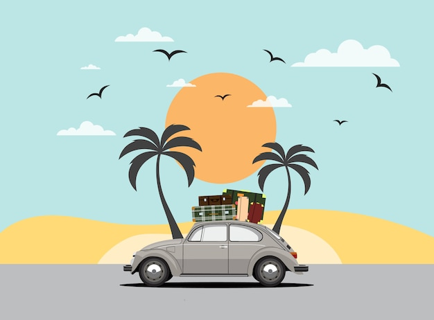 Travel by car. road trip. time to travel, tourism, summer holiday.