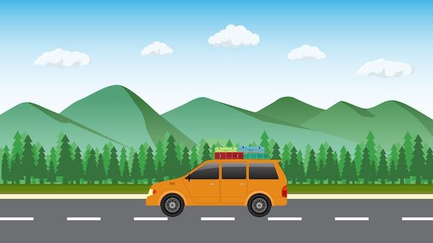 Путешествие на машине с горным фоном.