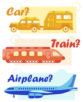 Travel by car with trailer, train, airplane banner