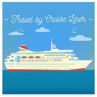クルーズ客船で旅行します。観光業界。クルーズライナー旅行。交通手段。ベクトルイラストフラットスタイル
