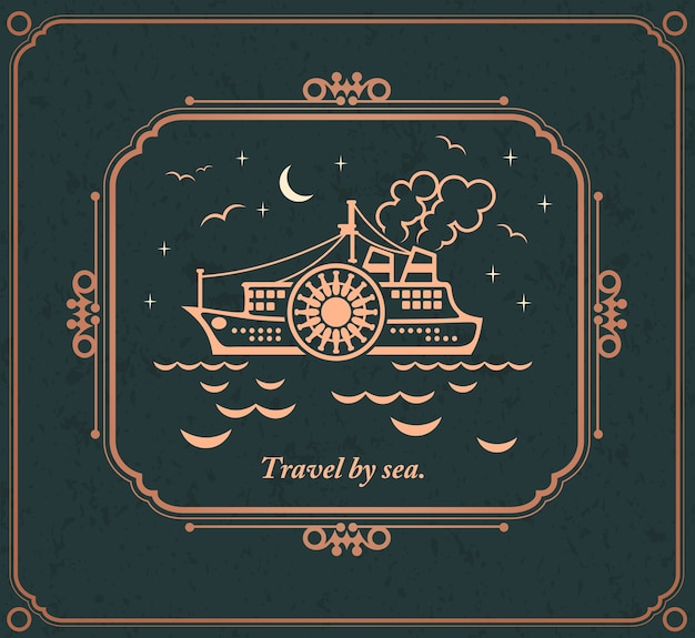 Travel by sea, calligraphic border