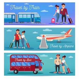 Travel by train, airplane and bus. happy couple with baggage.