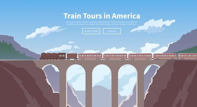 Travel by train. web banner. mountain railway.