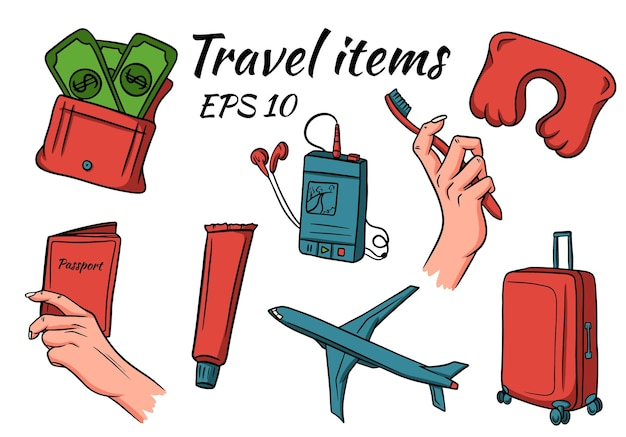 Travel and camping elements set