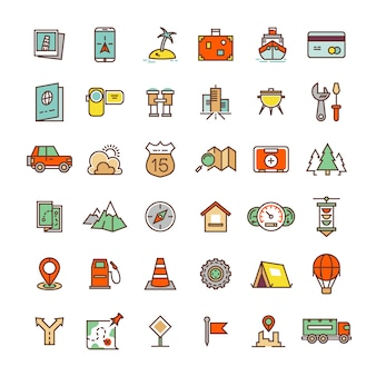 Travel, camping, location flat icons collection