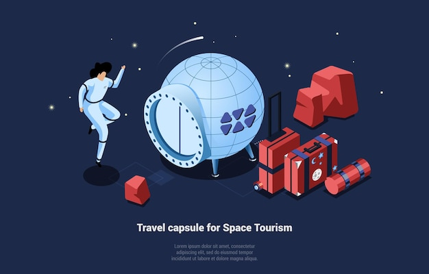 Travel capsule for space tourism illustration