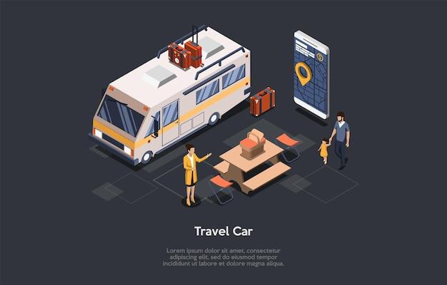 トラベルカーレンタルコンセプトデザイン。アイソメトリックコンポジション、漫画の3dスタイル。文字とベクトルイラスト。女性労働者に歩いて子供を持つ男。ビッグバン、テーブル、スーツケース、アプリ付き電話