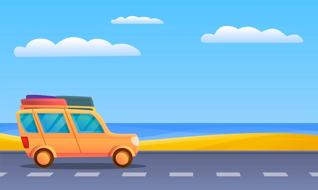 Travel car to sea illustration, cartoon style
