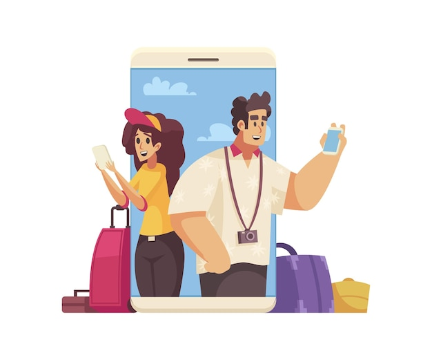 Travel cartoon composition with happy people booking hotel or apartment online  illustration