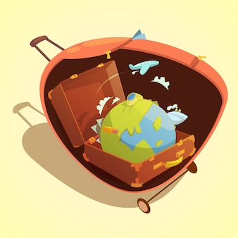Travel cartoon concept with globe in a suitcase on yellow background vector illustration