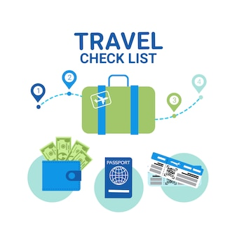 Travel check list elements. vacancy planning concept