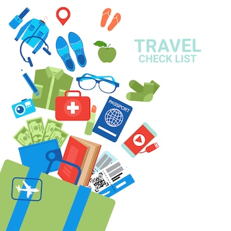 Travel check list luggage elements, baggage planning concept