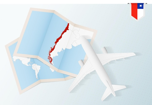 Travel to chile, top view airplane with map and flag of chile.