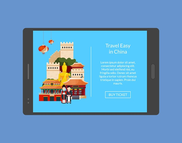 Travel in china banner on tablet. vacation tour vector illustration