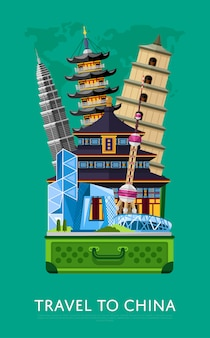 Travel to china banner with famous buildings