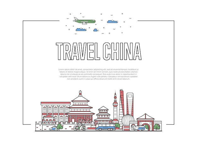 Travel china poster in linear style