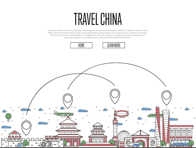 Travel china web template in linear style
