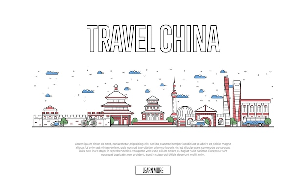 Travel china webpage in linear style