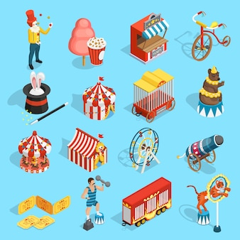 Travel circus isometric icons set