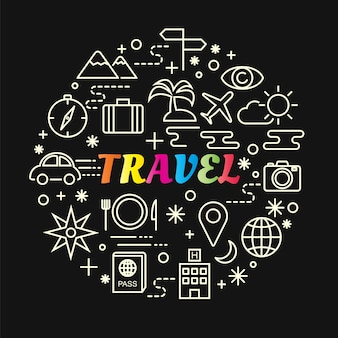 Travel colorful gradient with line icons set
