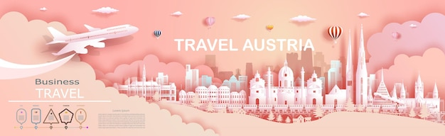 Travel company to austria top world famous palace and castle architecture. tour zurich, geneva, lucerne, interlaken, landmark of europe with paper cut.