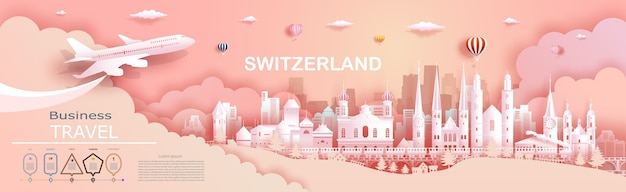 Travel company to switzerland top world famous palace and castle architecture. tour zurich, geneva, lucerne, interlaken, landmark of europe with paper cut. business brochure design for advertising.